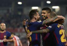 Der FC Barcelona (Bild/von links: Messi, Suarez und Vidal) tartete mit sechs Siegen und 20:2 Toren in die spanische Fußball-Meisterschaft, sein Zukunft dort ist aber aufgrund des katalanischen Referendums ungewiss.