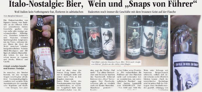 """Das VOLKSBLATT hat Anfang Juli von den zuletzt wieder florierenderen Geschäften mit """"braunen"""" Flaschen in Italien berichtet. Nun soll ein Verbotsgesetz kommen."""