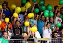 In Grün-Gelb und ein wenig Violett wird das Vöcklamarkter Black Crevice Stadion am Mittwoch erstrahlen. GEPA