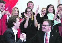 Bundeskanzler Sebastian Kurz und der amtierende Landeshauptmann Günther Platter (ÖVP) jubeln nach Bekanntgabe der ersten Hochrechnung.