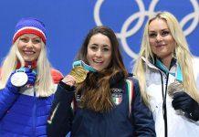 Die Medaillenplätze — es siegte Sofia Goggia (M.) vor Ragnhild Mowinckel (l.) und Lindsey Vonn — waren für Österreich in der Abfahrt außer Reichweite.