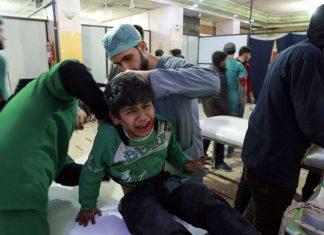 Verletzte Kinder nach Bombenanschlägen. Das ist derzeit grausiger Alltag in Ost-Ghouta.