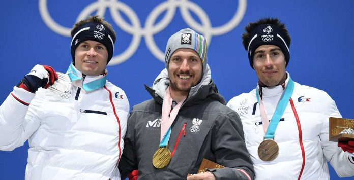 Marcel Hirscher nahm freudestrahlend Gold entgegen, für Alexis Pinturault (l.) reichte es zu Silber, Victor Muffat-Jeandet holte Bronze.