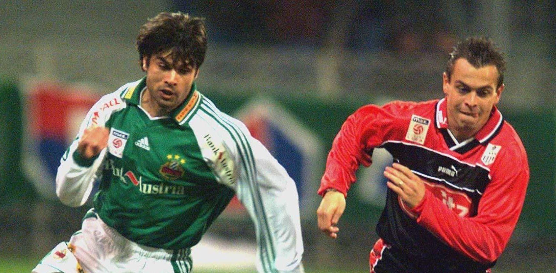 Jürgen Panis (r. gegen Andreas Lagonikakis) ist der bislang letzte LASK-Siegtorschütze in Hütteldorf.