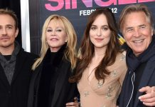 "Schauspieler-""Familie"": Jesse Johnson, Melanie Griffith, Dakota Johnson und Don Johnson"