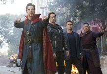 Doctor Strange/Stephen Strange (Benedict Cumberbatch), Iron Man/Tony Stark (Robert Downey Jr.), Bruce Banner/Hulk (Mark Ruffalo) and Wong (Benedict Wong).