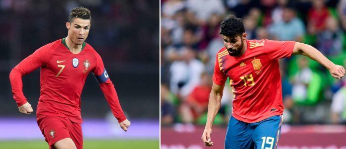 Fernando gegen Fernando: Portugals Santos (ganz oben) trifft auf Spaniens neuen Teamchef Hierro.Duell der Top-Stürmer: Cristiano Ronaldo (l.) und Diego Costa.