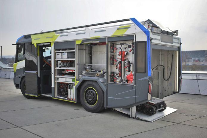 Strotzend vor Technologie und vielleicht auch nicht mehr in Rot? So könnte das Feuerwehrauto der Zukunft aussehen.