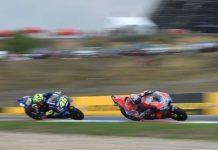 """Yamaha-Pilot """"Dottore"""" Rossi (ITA, links) machte in Brünn vergeblich Jagd auf die schnelle Ducati seines Landsmannes Andrea Dovizioso."""
