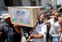 Oben: Palästinenser tragen im Gaza-Streifen eine beim israelischen Gegenangriff getötete Frau und ihr Kind zu Grabe.Rechts: Von Hamas-Rakete getroffenes Haus in einem südisraelischen Kibbutz.