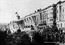 Adolf Hitler bei einem seiner Besuche der Stadt Linz.