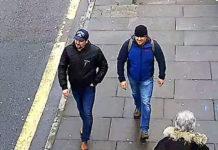 Diese beiden Russen — hier auf einem in Salisbury aufgezeichneten Polizeivideo und auf Fahnungsfotos — sollen den Giftanschlag auf Skripal und seine Tochter verübt haben.