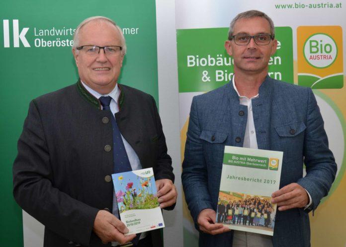 V. l.: Landwirtschaftskammerpräsident Reisecker und Bio Austria OÖ-Obmann Waldenberger sehen Österreich auf erfolgreichem Bio-Kurs.
