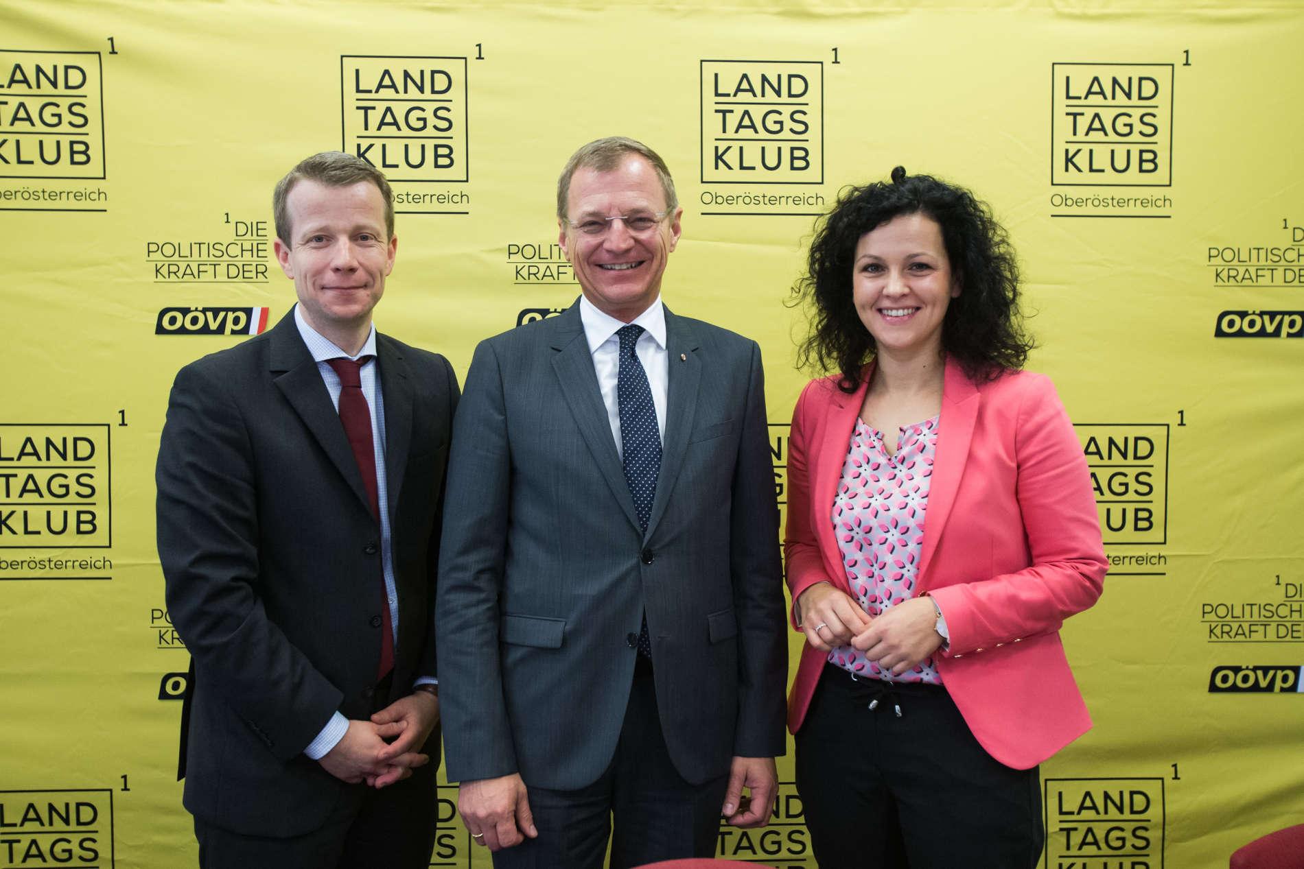 Präsentierten gestern die Studie zum Ehrenamt (v. l.): Paul Eiselsberg (IMAS), LH Thomas Stelzer und KO Helena Kirchmayr.