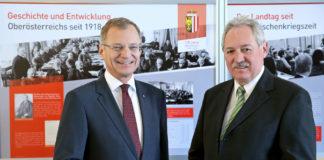 Gedenken, aber auch vorausschauen: So wollen LH Stelzer und LT-Präsident Sigl die morgige 100-Jahr-Feier verstanden wissen.