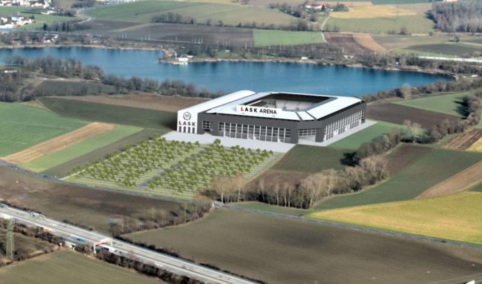 Das beim Pichlingersee geplante LASK-Stadion, das 2022 fertig sein soll.