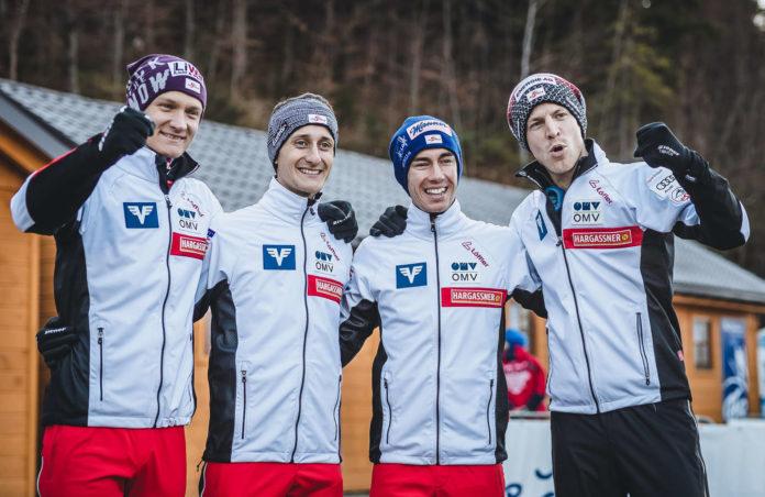 Da war die Welt noch in Ordnung: Daniel Huber, Clemens Aigner, Stefan Kraft und Michael Hayböck (v.l.) durften in Wisla über Rang drei im Team jubeln.