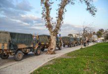 Türkischer Militärkonvoi an der Grenze zu Syrien.