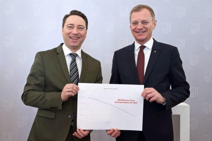 LH-Stv. Manfred Haimbuchner und LH Thomas Stelzer sind zufrieden — die Schuldenkurve zeigt bergab.