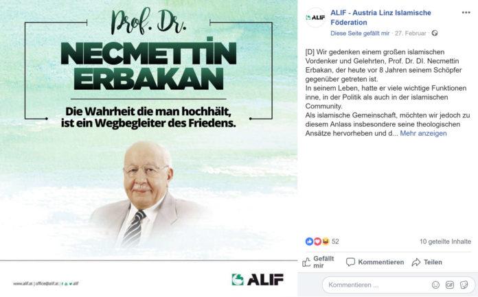 """Die von einem Religionslehrer geführte Austria Linz Islamische Föderation würdigt den Antisemiten Necmettin Erbakan als """"großen islamischen Vordenker und Gelehrten""""."""