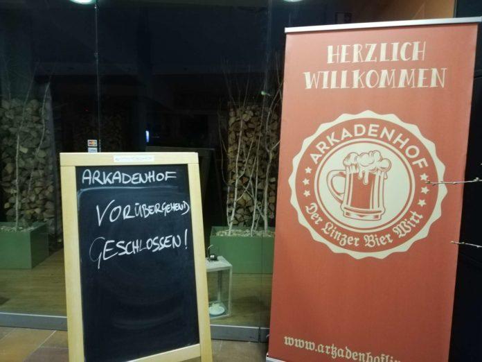 Überraschend wurden gestern die vier oberösterreichischen Lokale der Arkadenhof-Kette geschlossen.