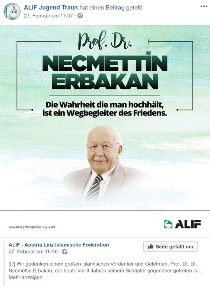 """Nicht gelöscht: Die Alif-Jugend Traun würdigt auf Facebook weiter den Antisemiten Erbakan als """"großen islamischen Vordenker""""."""