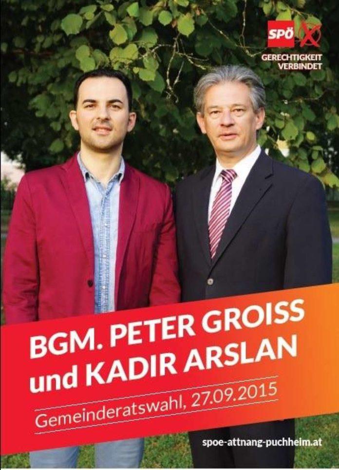 SPÖler oder nicht (mehr)?: GR Arslan (l.) 2015 auf einem Wahlplakat mit Bgm. Groiß.