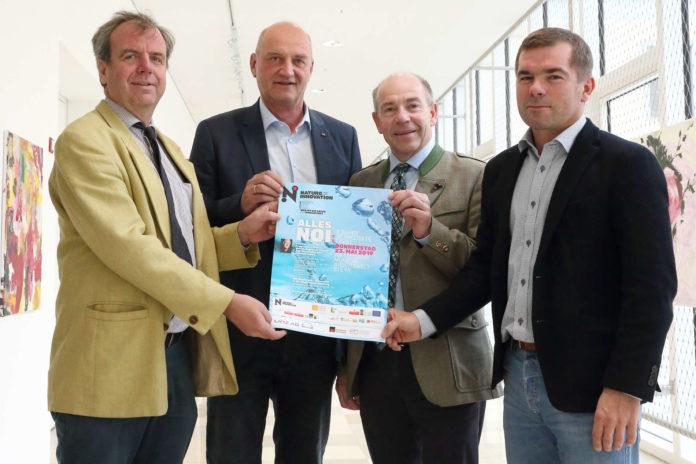 V. l.: Wolfgang Löberbauer, Obmann LAbg. Christian Dörfel, LR Hiegelsberger, Projektleiter Andreas Kupfer