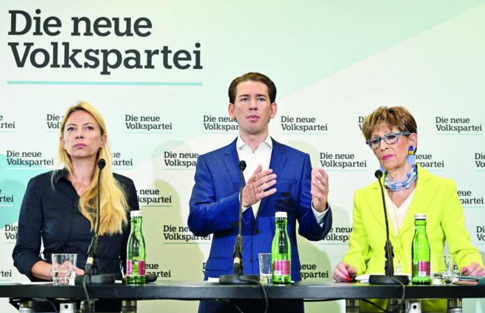 ÖVP-Frauenchefin Juliane Bogner-Strauß, ÖVP-Bundesparteiobmann Sebastian Kurz und Seniorenbund-Präsidentin Ingrid Korosec stellten das Konzept vor.