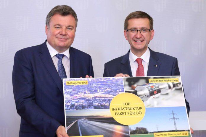 V. l.: LR Steinkellner und LR Achleitner präsentierten gestern ein umfangreiches Infrastrukturpaket für OÖ.