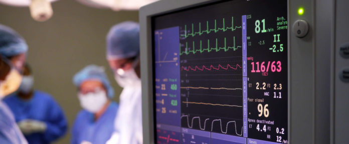 hospital surgery with heart rate monitor