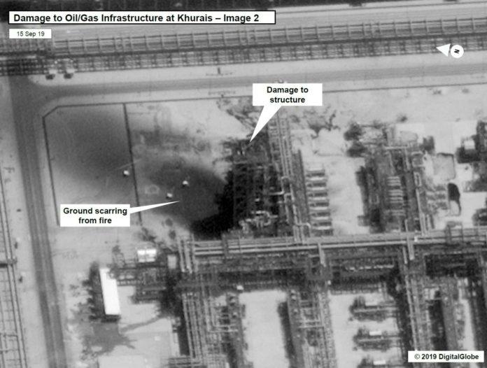 US-Satellitenbilder zeigen eine zerstörte saudische Ölanlage.