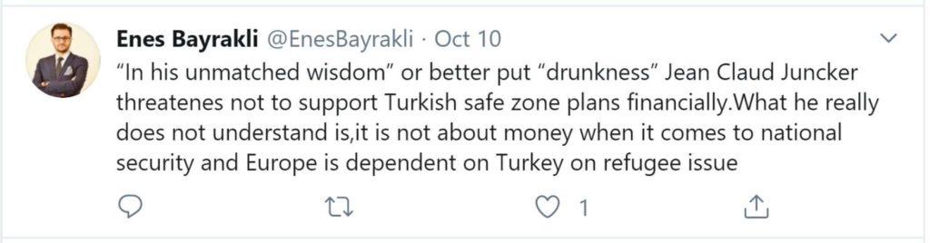 """Enes Bayrakli, Co-Herausgeber des EU-finanzierten Islamophobie-Reports, unterstellt EU-Kommissionspräsident Juncker in einem Tweet """"Trunkenheit""""."""