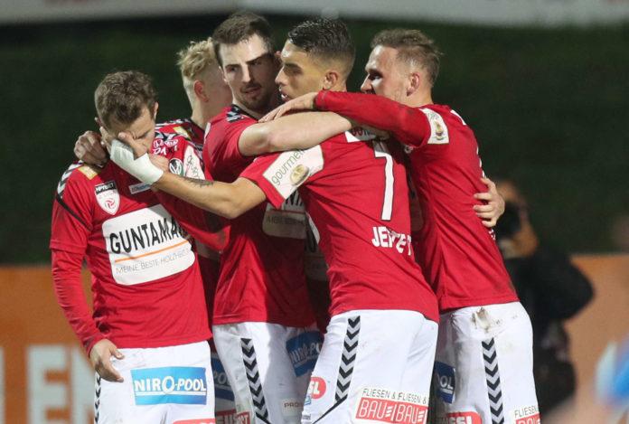 Rieder Jubel — aktuell ein gewohntes Bild in der zweithöchsten Fußball-Spielklasse Österreichs.