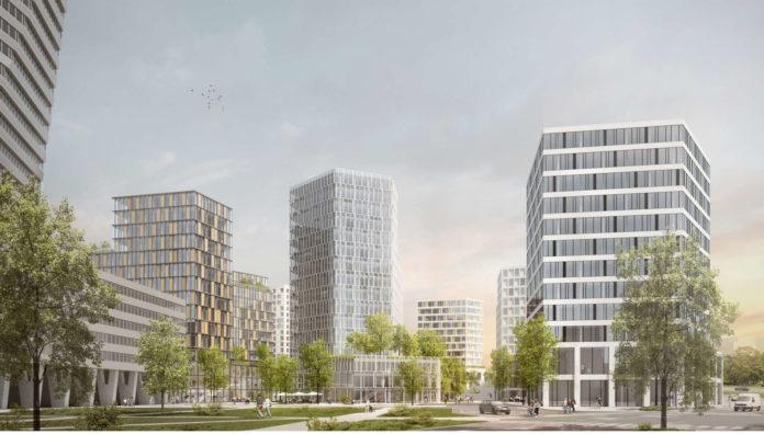Der Blick von der Kärnterstraße in die neue Post City. Links im Vordergrund sind das LDZ und der Finanz-Tower zu erkennen.