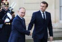 Wollen die kriegerischen Auseinandersetzungen um die ostukrainischen Gebiete entschärfen: (v. l) Wladimir Putin, Emmanuel Macron, Wolodymyr Selenskyj und Angela Merkel