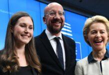 EU-Kommissionspräsidentin Ursula von der Leyen (r.), Ratspräsident Charles Michel und die finnische Premierministerin Sanna Marin zeigten sich erfreut über die Klima-Einigung.