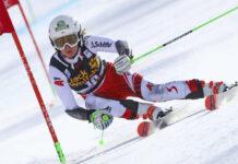 Zum ersten Mal in ihrem fünften Weltcuprennen stand die Oberösterreicherin Elisa Mörzinger (l.) auf dem Siegerpodest, gemeinsam mit Clara Direz (M.) und Marta Bassino (r.).