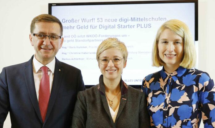 Wollen die heimische Jugend zukunftsfit in Sachen Digitalisierung machen (v. l.): LR Achleitner, WKOÖ-Präsidentin Hummer und LH-Stv. Haberlander