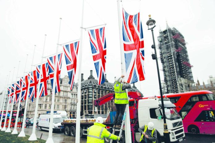 Bereit für den Brexit: Im Londoner Parlamentsviertel sind die britischen Flaggen aufgezogen.