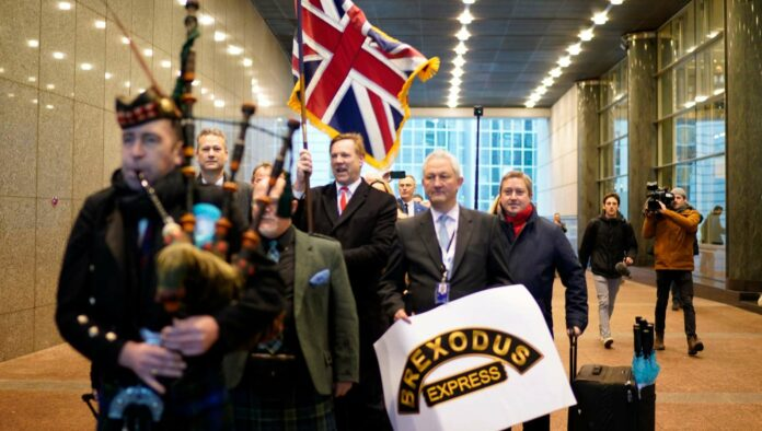 """Trauerfreudentag: In Brüssel feiern britische EU-Abgeordnete ihren """"Brexodus""""."""