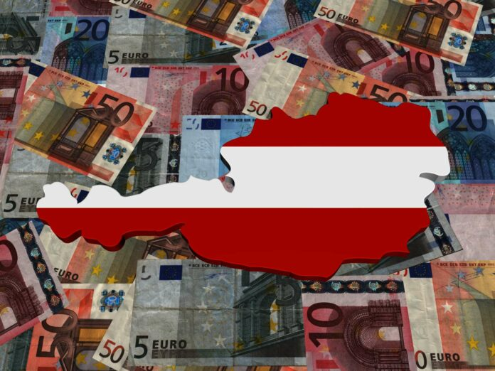 Austria 3d Map flag on euro currency illustration