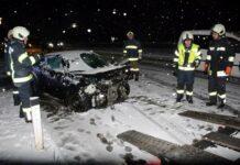 Unfall auf der schneebedeckten B126