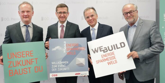 V. l.: Robert Schneider (Geschäftsführer Messe Wels) Wirtschafts- und Energie-Landesrat Markus Achleitner, Gerhard Dell (Geschäftsführer OÖ Energiesparverband) und Hermann Wimmer (Präsident Messe Wels)