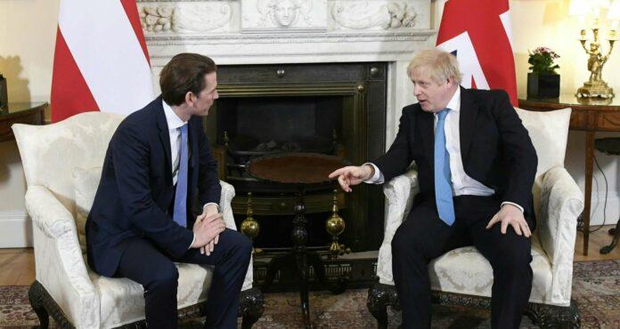 Es wird schwierig: Kanzler Kurz bei Premier Johnson in Downing Street 10.