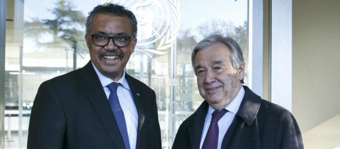 Auf WHO-Generaldirektor T. A. Ghebreyesus (links) und UN-Generalsekretär Antonio Guterres kommt in den nächsten Monaten noch viel Arbeit zu.