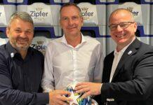 Valerien Ismael hat an seinem Aus noch zu knabbern, während die LASK-Bosse Siegmund Gruber (r.) und Jürgen Werner (l.) schon Dominik Thalhammer (M.) als Nachfolger präsentierten.