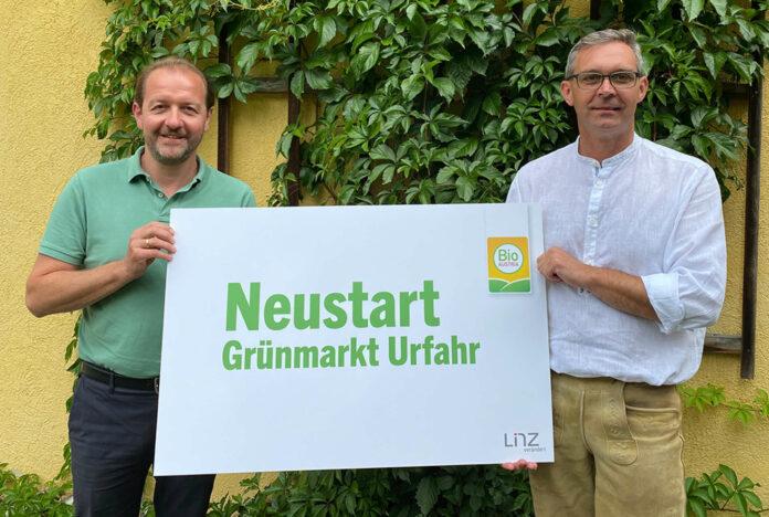 Marktreferent Vbgm. Bernhard Baier (l.) und Franz Waldenberger (Obmann Bio-Austria) wollen gemeinsam für frischen Wind am Grünmarkt in Urfahr sorgen.