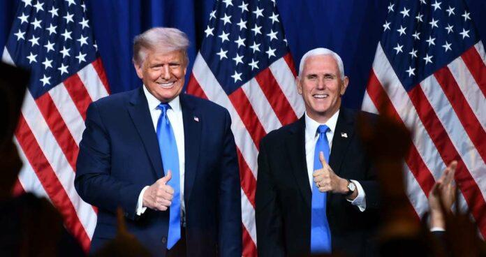 """Präsident Donald Trump und sein """"Vize"""" Mike Pence (von links) wollen die USA retten."""