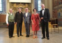 Stadtpfarrer Christian Öhler, Thomas Hampson, Martin Haselböck, Marie-Theres Arnbom und Stephan Köhl (GF Tourismusverband Bad Ischl)